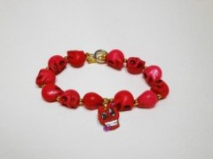 "DAVINCI CROOKS""APPLE MINI SKULL-RED""Bracelet"